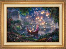"Thomas Kinkade - Disney - TANGLED 24"" x 36"" LE G/P Canvas (Gold Frame)"