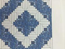 16 Pre-cut LOG CABIN Blue White Quilt Kit Civil War Reproduction Block CALICO