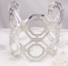 Wide Silver Hexagon Pattern Cuff Bracelet Fashion Jewelry NEW Pretty!