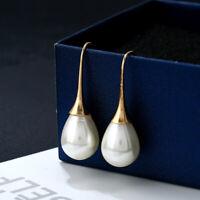 Boucles d'oreilles Doré Crochet Long Perle Gros Goutte Blanc Simple Class DD13
