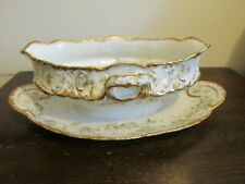 Haviland Limoges France Schleiger Gravy Boat w. Attached Plate Wreath Of Roses