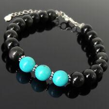 Men's Women Bracelet Obsidian Blue Turquoise 925 Sterling Silver Clasp Link 1363