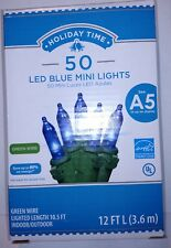 Holiday Time 50 ct Blue LED Mini Lights Green Wire Christmas