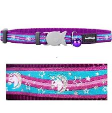 Red Dingo CAT Collar Purple UNICORN Design | Safety Buckle & Bell