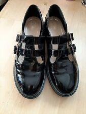 Clarks Black Ladies  Patent Double Strap Shoes Size 7.5D