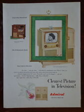 "ADMIRAL 1950 Television MODEL 36R37 (Blonde) with 16"" TV AD Advertisement"