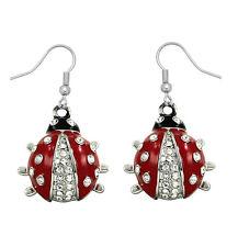 Silvertone  Ladybug Earrings Lady Bug Gift Boxed Fast Shipping