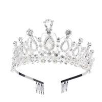 Tiara Hair Comb Clear Rhinestone Crown Girl Headband Bridal Pageant Party w/Comb