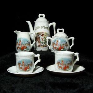 Antique Merry Christmas Childs porcelain Tea Set Dishes Angels Reindeer Tree vtg