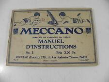 MECCANO 1916 MANUEL D' INSTRUCTIONS N° 1  326 modèles à construire