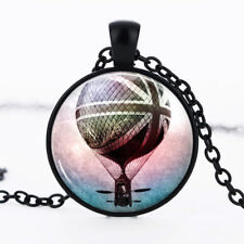 Hot Air Balloon Black Dome Glass Cabochon Necklace chain Pendant #243