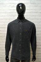Camicia Uomo WRANGLER Taglia XL Maglia Shirt A Costine Manica Lunga Grigio