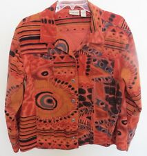 Vintage Chico's Colorful, Crazy Abstract Design, Denim Style Jacket/12