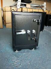 Large Double Key Lock Black Steel Concrete Safe 2 Key Home Office Heavy Duty