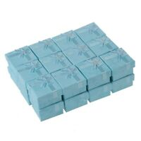 24 Pcs Ring Earring Jewelry Display Gift Box Bowknot Square Case sky blue K7N1