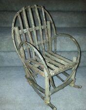 Handmade Appalachian Folk Art Craft Doll Teddy Bear Sized Rocking Chair Wood