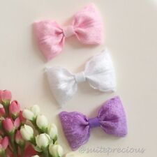 Set of 3 pastel lace hair bows clips or nylon headbands baby/girl/party/princess