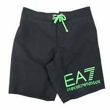 EA7 Neon Green Logo Swim Shorts Black