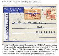 NED INDIE  1933-1-4    FLIGHT CV SOERABAJA- ENSCHEDE   F/VF