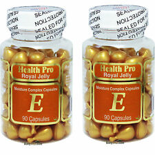 2 x Royal Jelly Vitamin-E Skin Oil 90 Gel, Moisture Complex Capsules, FRESH