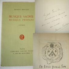 MUSIQUE SACRÉE MUSIQUE PROFANE  Maurice Brillant EO Ex libris + envoi  !