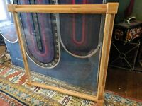 "LARGE VINTAGE BLONDE WOOD PICTURE FRAME VTG RETRO BOX GLASS 24""OPENING/27""TOTAL"