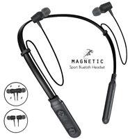 Sports Bluetooth Earphone Magnetic Neckband Headphone Stereo Headset Earbuds Mic