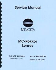 Minolta MC-Rokkor 24mm F2.8 VFC & MC W SI 24mm F2.8 Service & Repair Manual