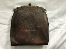 Vintage Art Nouveau Tooled Leather Ladies Purse Fancy Ornate Peacock Scene