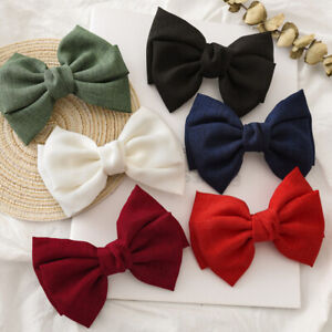 Women Oversized Bow Knotted Linen Barrettes Hair Clip Ponytail Clip Hair Decor