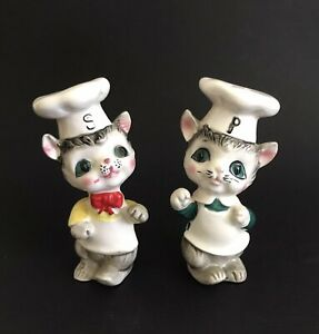 Vintage Anthropomorphic Mouse in Chef's Hat SALT and PEPPER SHAKERS Set Kitschy