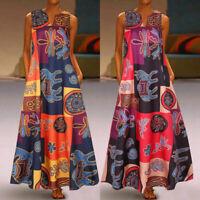 Summer Sundress Print Maxi Tank Long Dress Sleeveless Women Floral