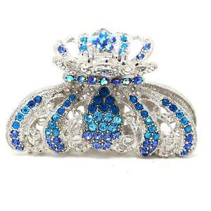 New Blue Rhinestone Imperial crown design high quality metal Hair Claws Clip