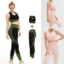 2PCS Set Damen Yoga Crop Top Sportanzug BH Hose Gym Trainingsanzug Fitness Suit