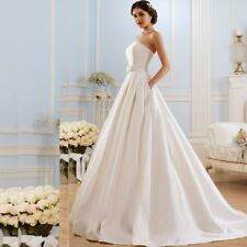 Satin Cheap Wedding Dresses under $100 Plus Size Bridal Gowns with Pockets