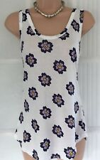 NEW DOROTHY PERKINS 8 ladies white longline navy floral tunic vest top
