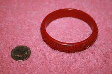 Vintage Real Red Cinnabar Flower Pattern Cuff Bracelet