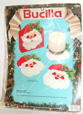BUCILLA PLASTIC CANVAS Needlepoint KIT SANTA COASTERS w/Holder Christmas 61004