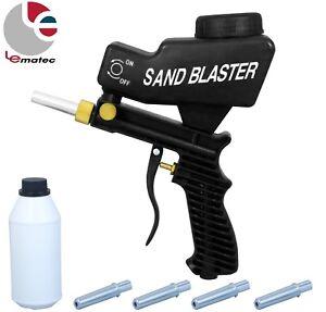 LEMATEC Sandblaster gun with Sand Canned four nozzle Air Power Sandblasting tool