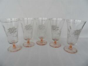 Set x 5 Vintage Retro Peach Pink footed White Rose Parfait Champagne glasses