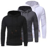 Mens Check Hoodies Pullover Sweater Tops Jumper Hooded Coat Slim Fit Sweatshirt