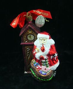 WATERFORD ALMOST MIDNIGHT SANTA BY GRANDFATHER CLOCK ORNAMENT HOLIDAY HEIRLOOMS