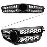 C63 AMG Style Grill Gloss Black For C-Class Benz W204 C300 C350 2008 - 2014