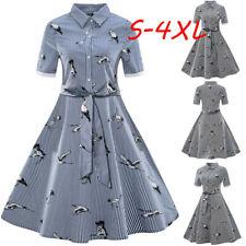 1920S Womens Plus Size Printed Streak Vintage Belt Bandage Shirt Swing Dress HOT