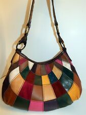 Lucky Brand Multi Patchwork Suede Leather Shoulder Bag