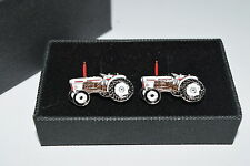 David Brown Tractor Cufflinks Gift Box Farming Enamel Wedding White & Brown