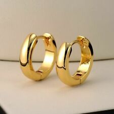 Women Hoops Smooth 14K Yellow Gold Plated Thin Circle Hoop Earrings Ear Gift new