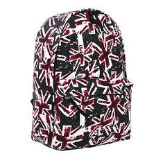 Premium Vintage Black Union Jack UK Flag Canvas Backpack School Shoulder Bag