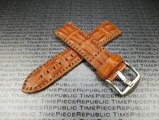 22mm Gold Brown ALLIGATOR HORNBACK Strap Leather Watch Band NAVITIMER BREITLING