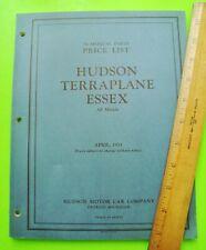 ORIGINAL 1933 HUDSON TERRAPLANE ESSEX NUMERICAL PARTS PRICE LIST / MANUAL Xlnt